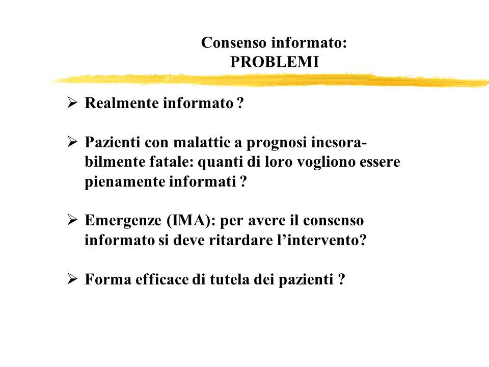 Consenso informato: PROBLEMI