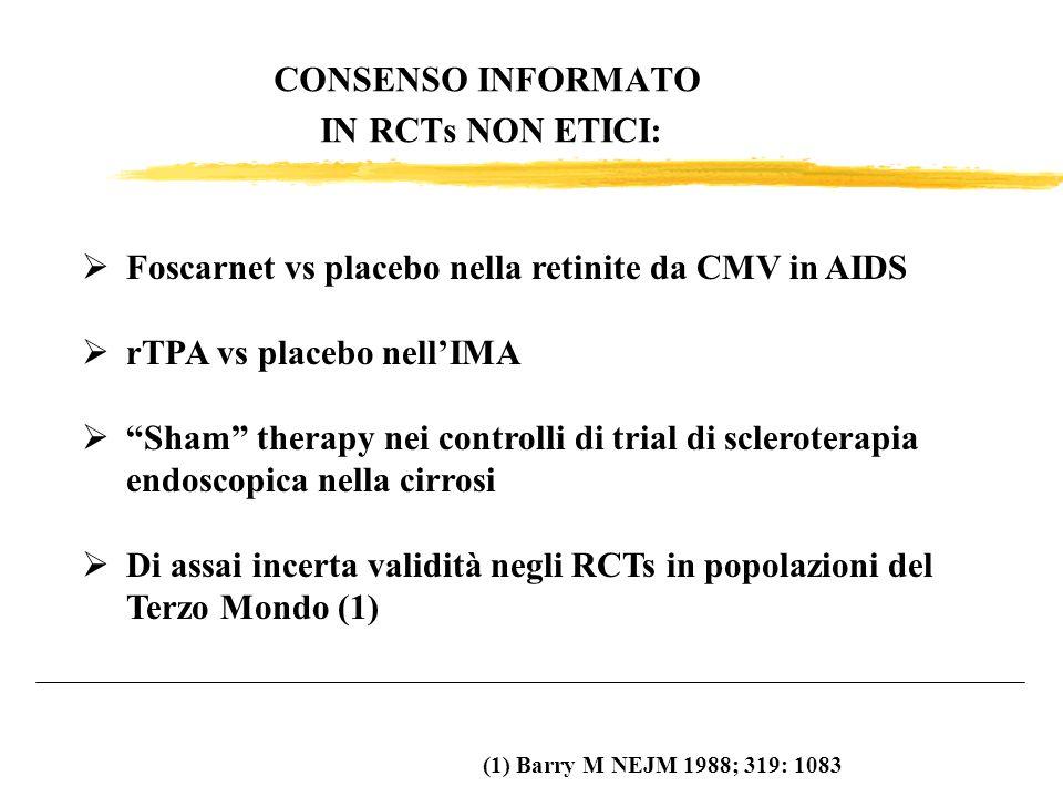 CONSENSO INFORMATO IN RCTs NON ETICI: