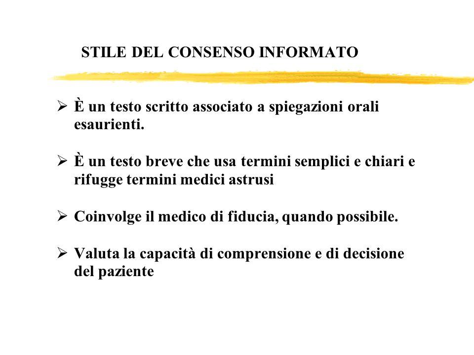 STILE DEL CONSENSO INFORMATO