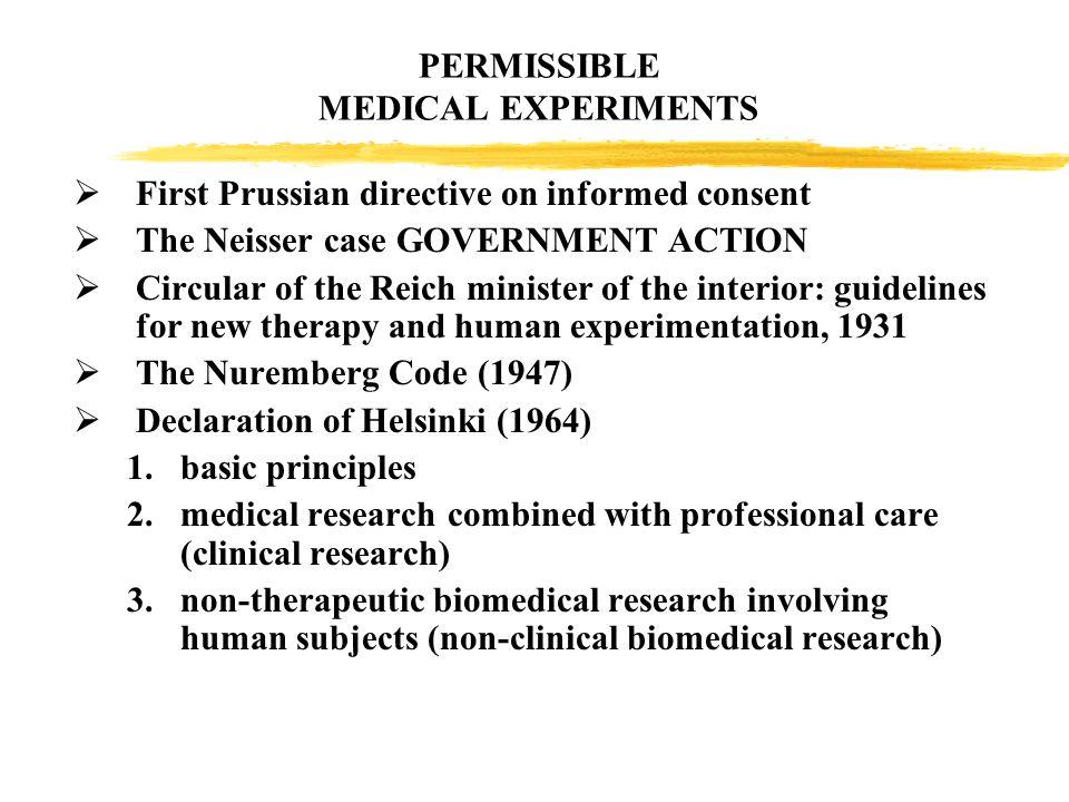 PERMISSIBLE MEDICAL EXPERIMENTS