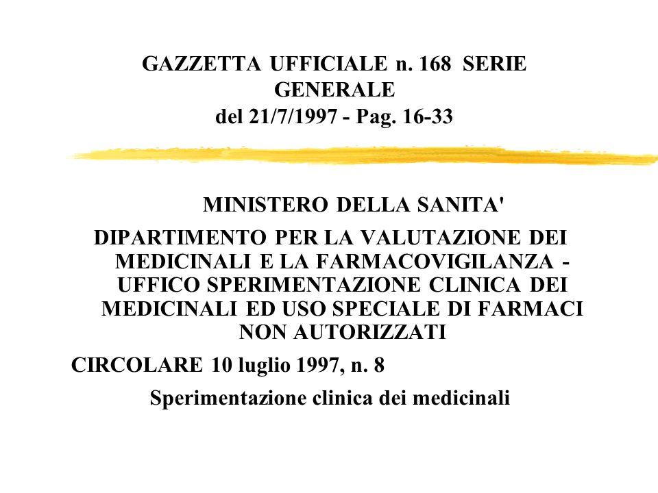 GAZZETTA UFFICIALE n. 168 SERIE GENERALE del 21/7/1997 - Pag. 16-33