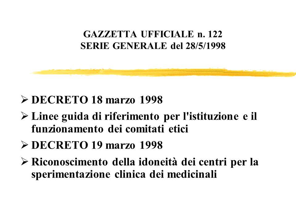 GAZZETTA UFFICIALE n. 122 SERIE GENERALE del 28/5/1998