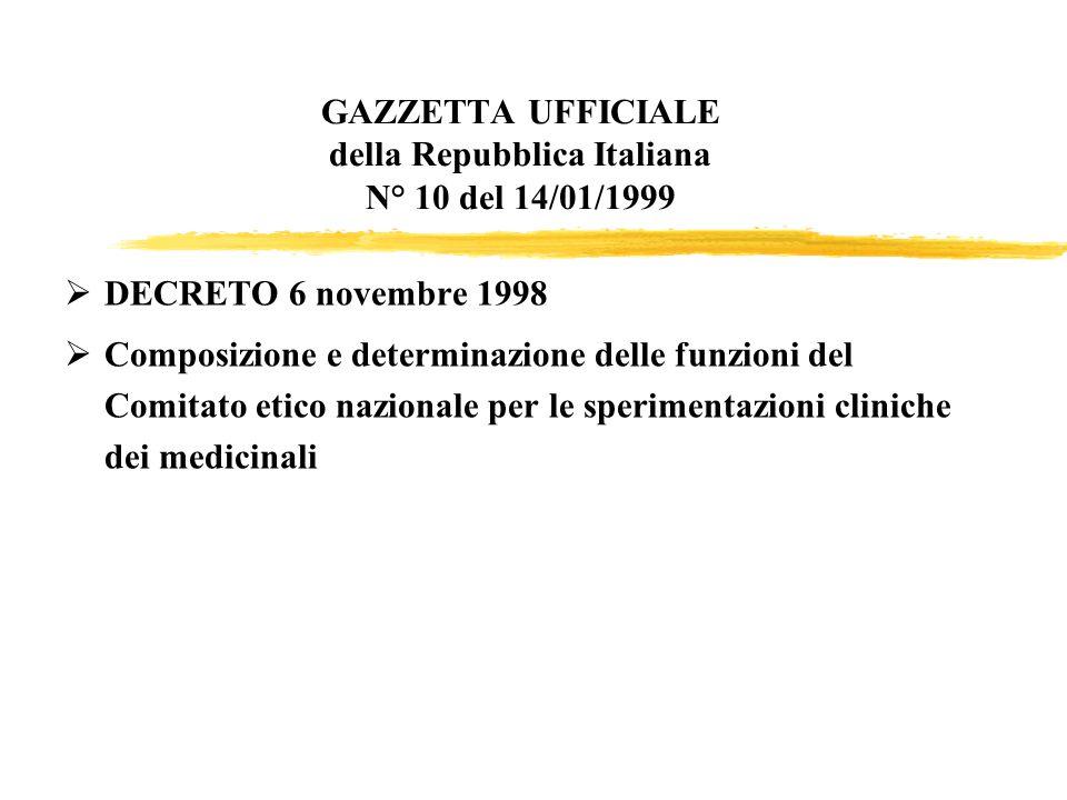 GAZZETTA UFFICIALE della Repubblica Italiana N° 10 del 14/01/1999