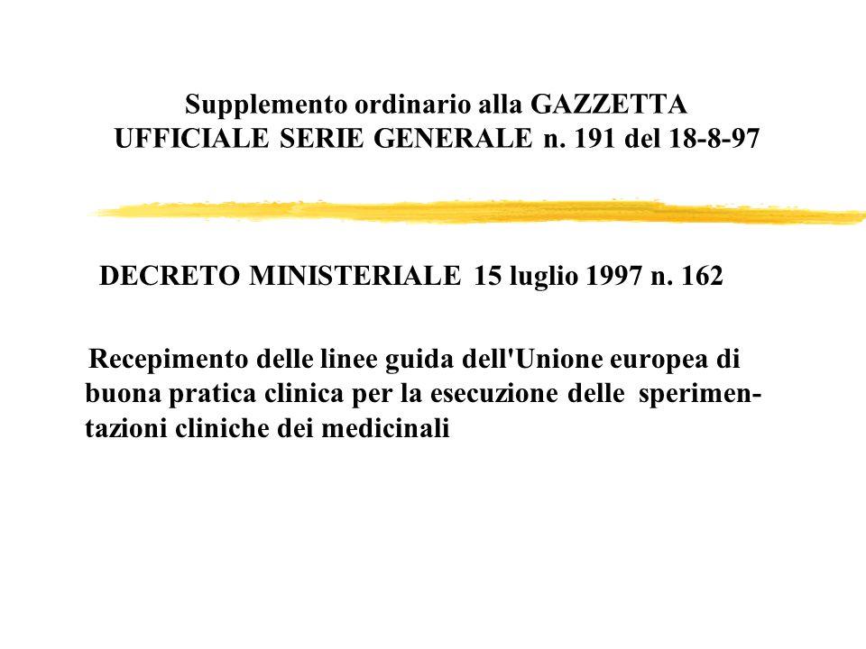 DECRETO MINISTERIALE 15 luglio 1997 n. 162