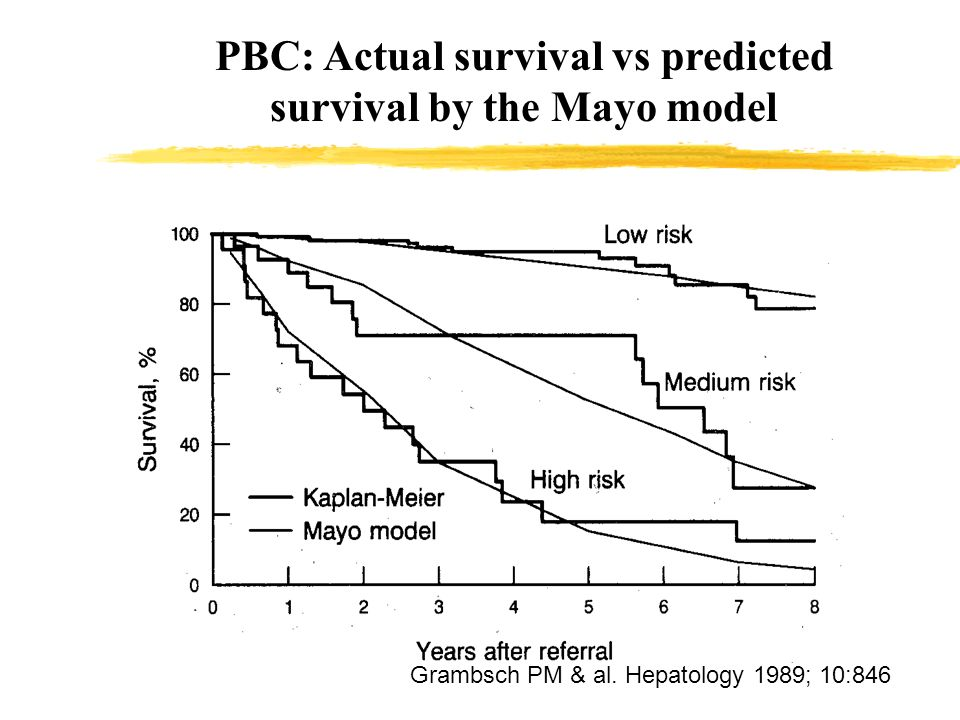 PBC: Actual survival vs predicted survival by the Mayo model