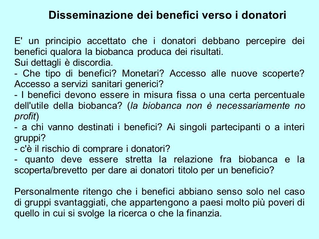 Disseminazione dei benefici verso i donatori