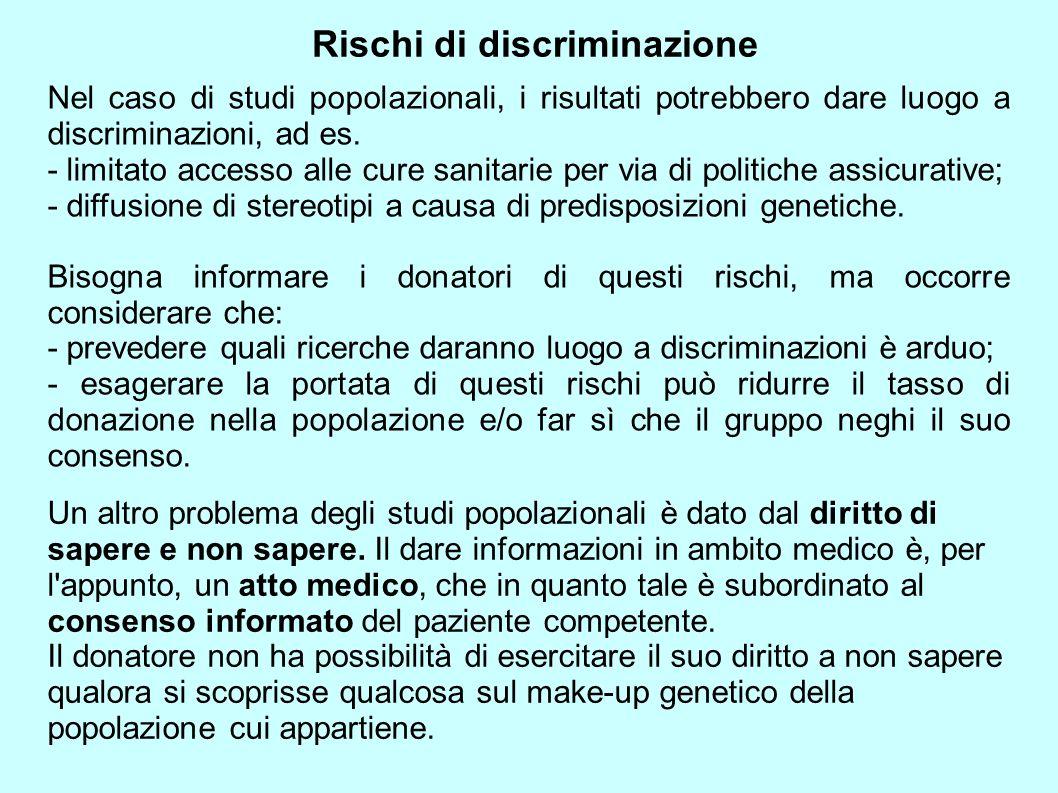 Rischi di discriminazione
