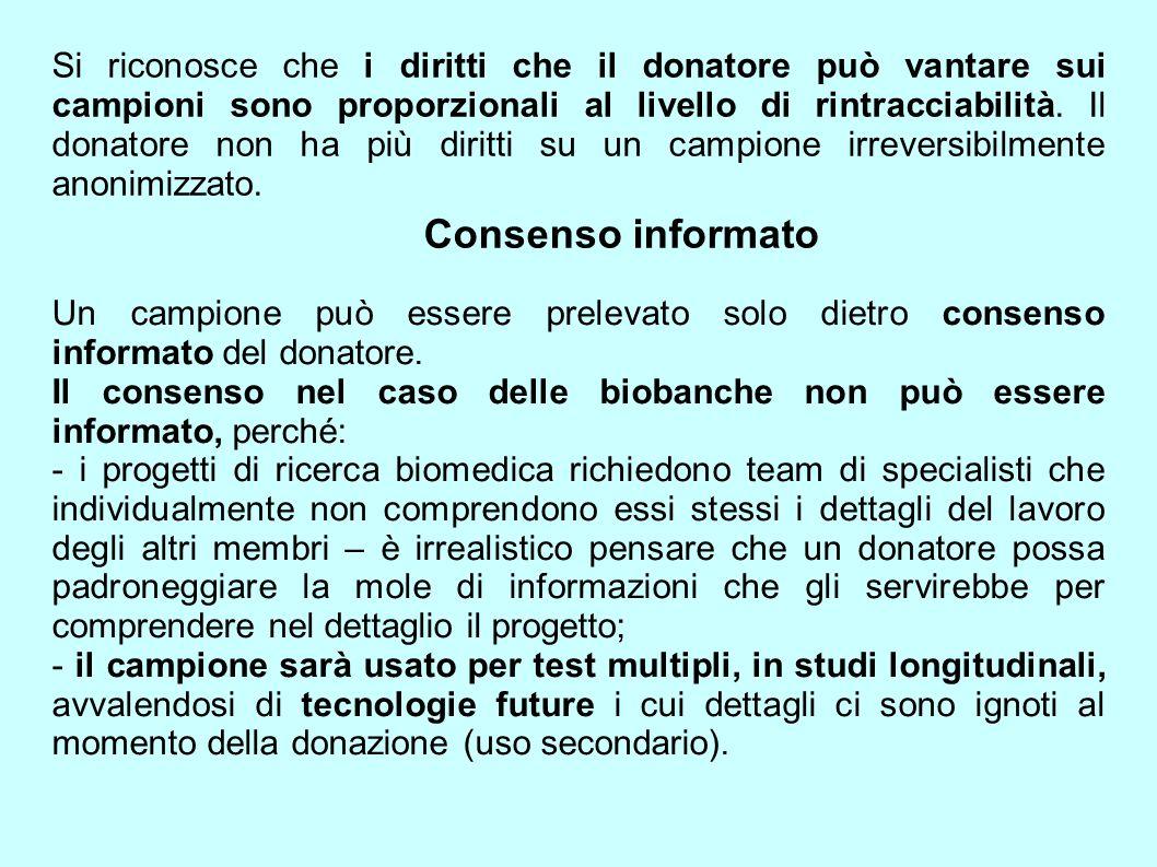 Si riconosce che i diritti che il donatore può vantare sui campioni sono proporzionali al livello di rintracciabilità. Il donatore non ha più diritti su un campione irreversibilmente anonimizzato.