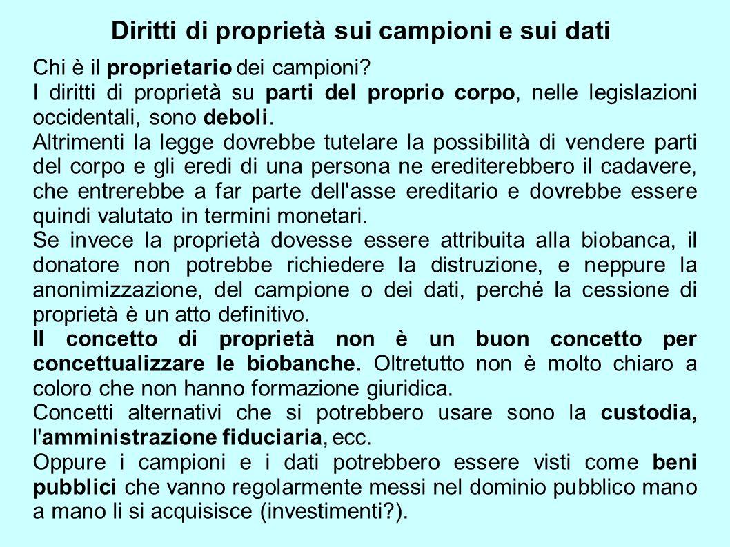 Diritti di proprietà sui campioni e sui dati