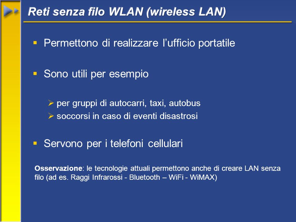 Reti senza filo WLAN (wireless LAN)