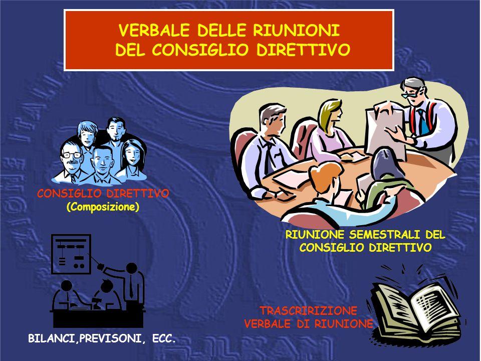 VERBALE DELLE RIUNIONI DEL CONSIGLIO DIRETTIVO