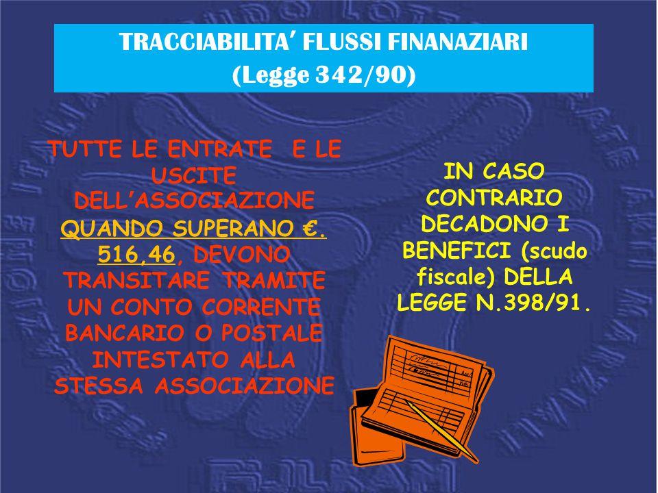 TRACCIABILITA' FLUSSI FINANAZIARI (Legge 342/90)