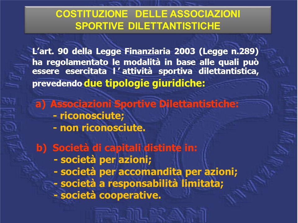 COSTITUZIONE DELLE ASSOCIAZIONI SPORTIVE DILETTANTISTICHE