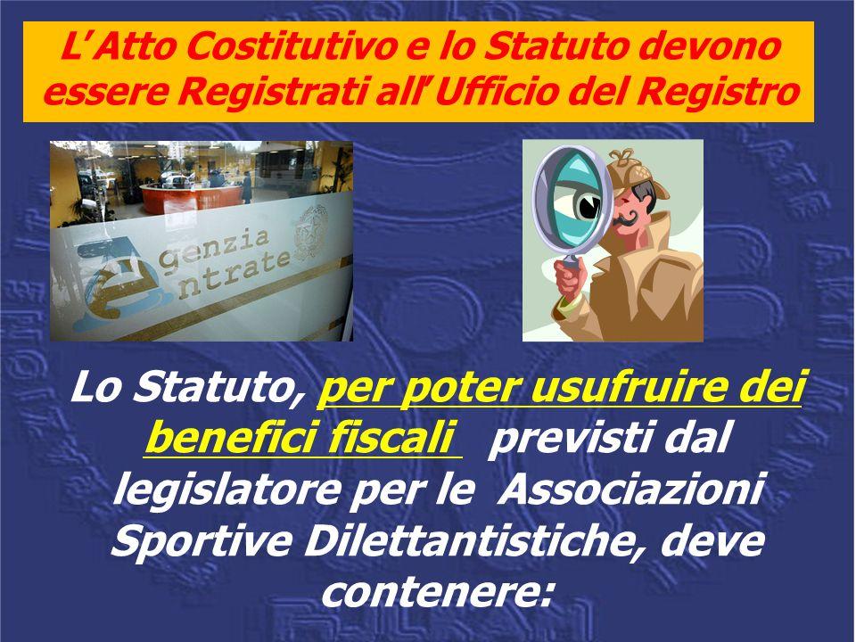 L'Atto Costitutivo e lo Statuto devono essere Registrati all'Ufficio del Registro