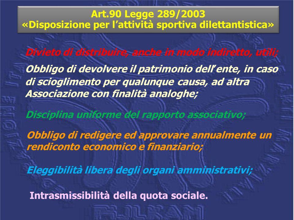 Art.90 Legge 289/2003 «Disposizione per l'attività sportiva dilettantistica»