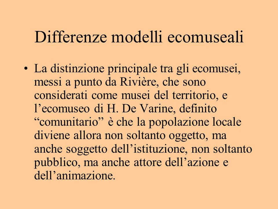 Differenze modelli ecomuseali