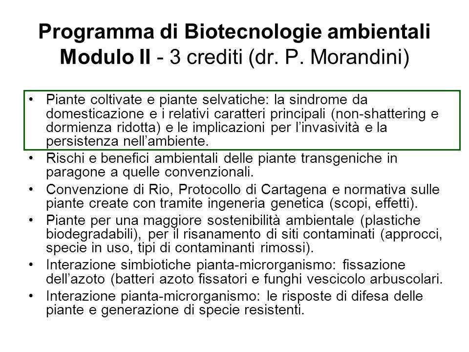 Programma di Biotecnologie ambientali Modulo II - 3 crediti (dr. P