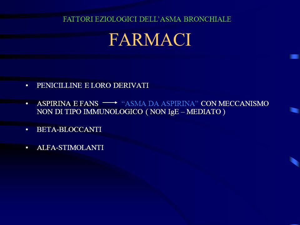FARMACI FATTORI EZIOLOGICI DELL'ASMA BRONCHIALE
