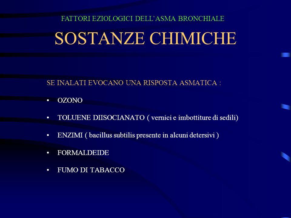 SOSTANZE CHIMICHE FATTORI EZIOLOGICI DELL'ASMA BRONCHIALE