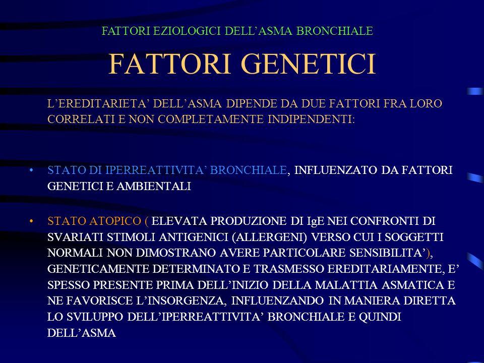 FATTORI GENETICI FATTORI EZIOLOGICI DELL'ASMA BRONCHIALE