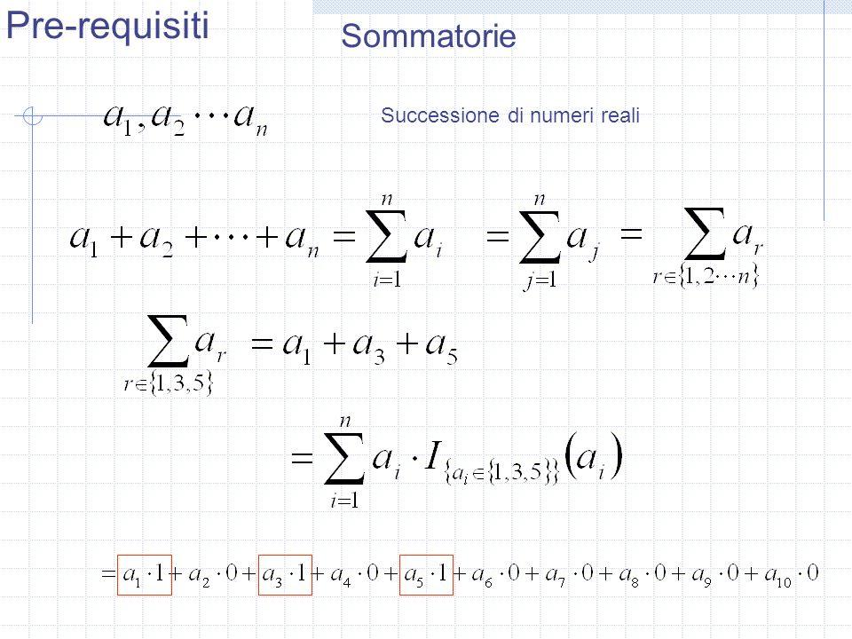 Pre-requisiti Sommatorie Successione di numeri reali