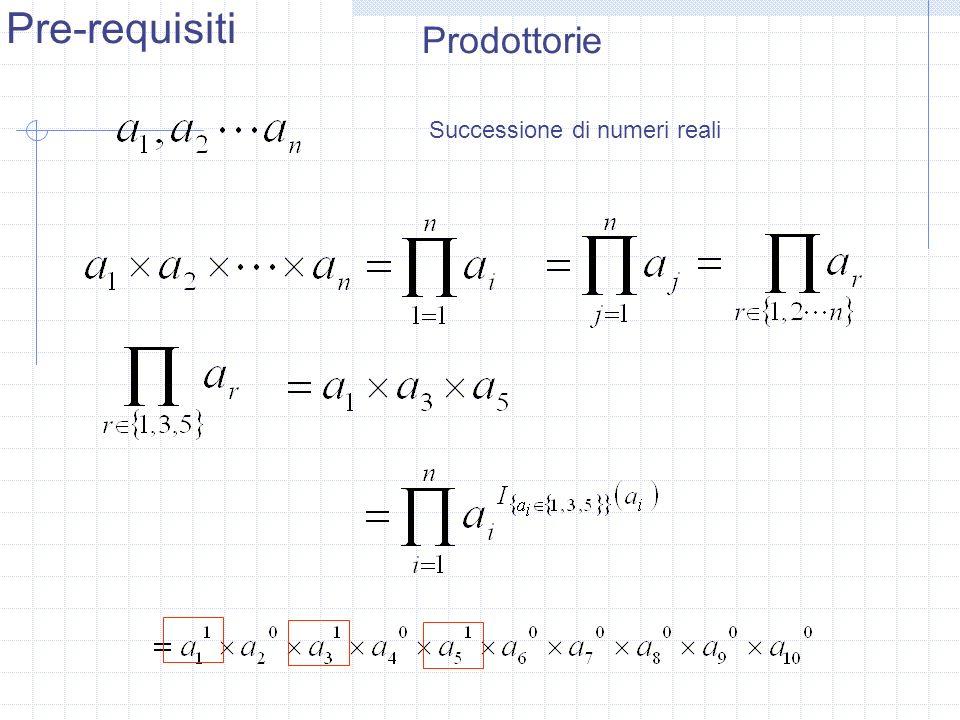 Pre-requisiti Prodottorie Successione di numeri reali