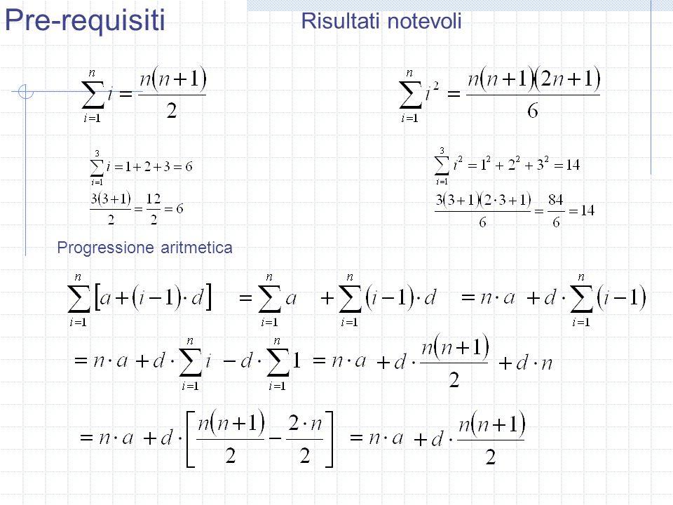 Pre-requisiti Risultati notevoli Progressione aritmetica