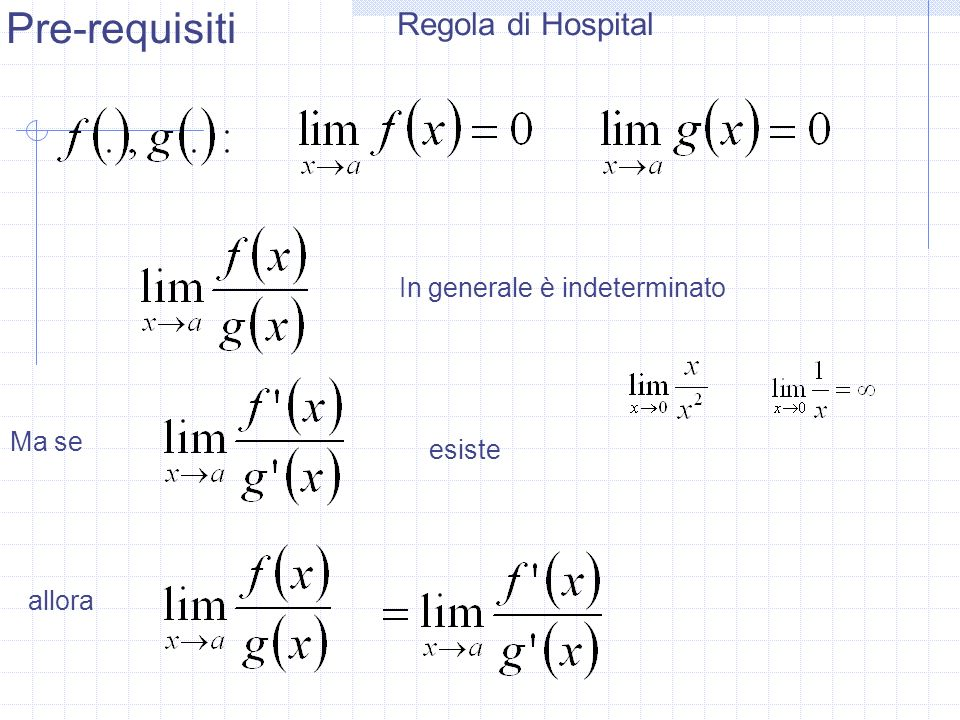 Pre-requisiti Regola di Hospital In generale è indeterminato Ma se