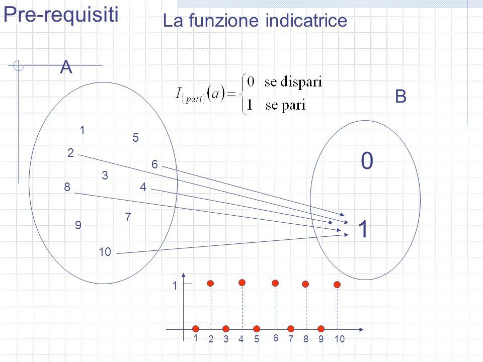 1 Pre-requisiti La funzione indicatrice A B 1 2 3 4 5 6 7 8 9 10 1 2 3