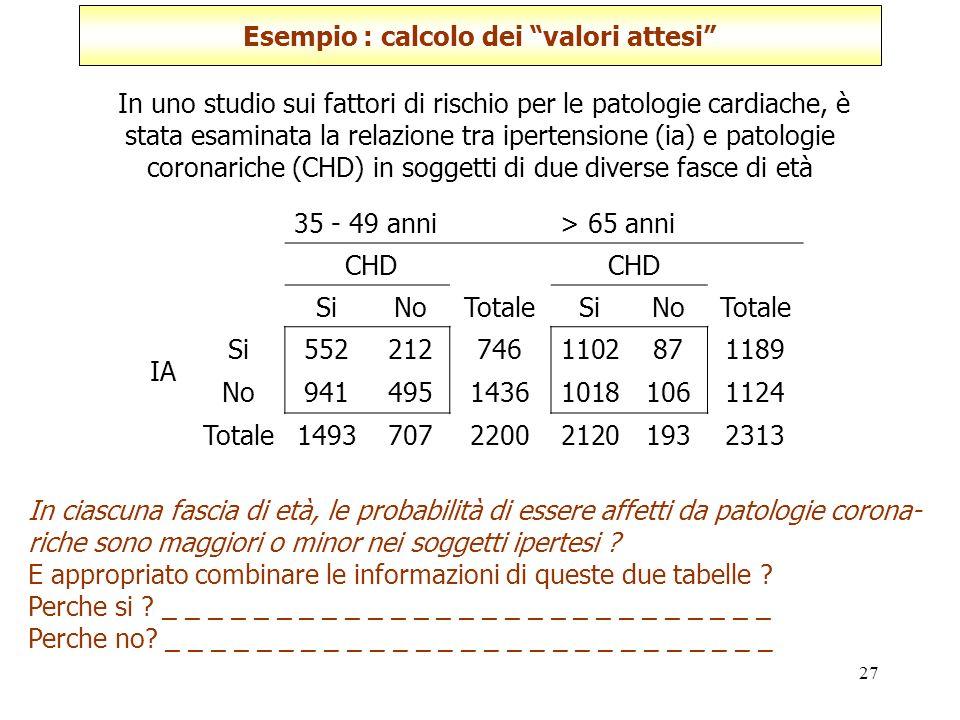 Esempio : calcolo dei valori attesi