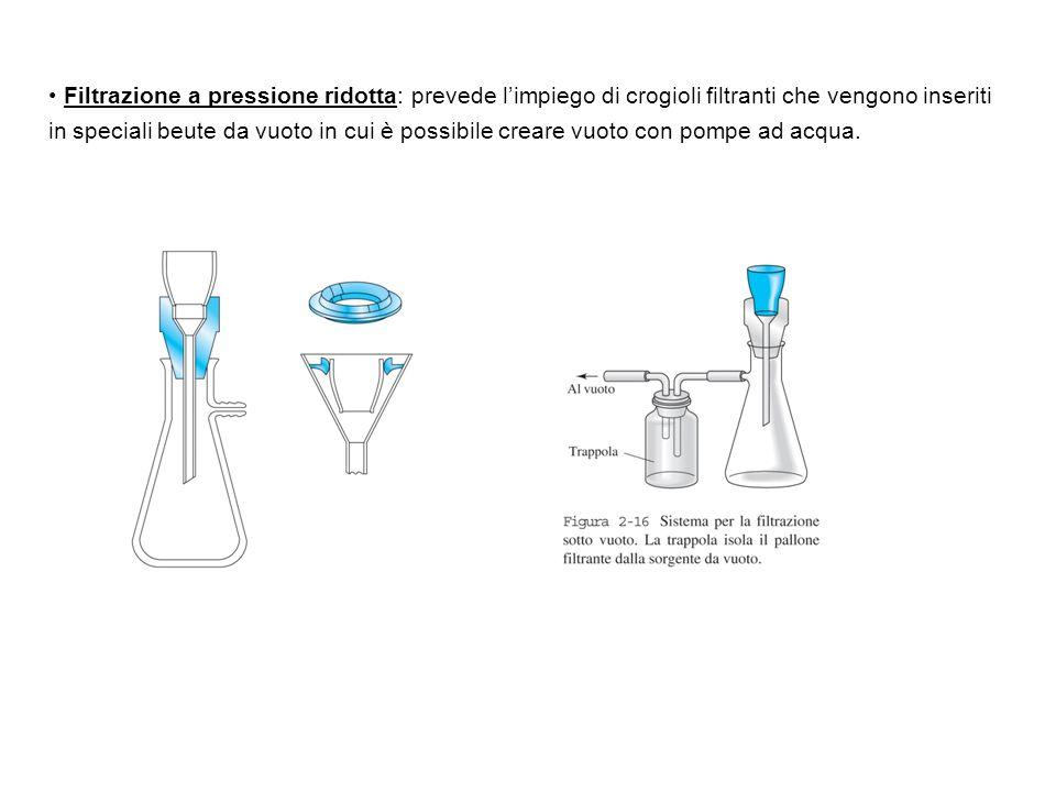Filtrazione a pressione ridotta: prevede l'impiego di crogioli filtranti che vengono inseriti in speciali beute da vuoto in cui è possibile creare vuoto con pompe ad acqua.