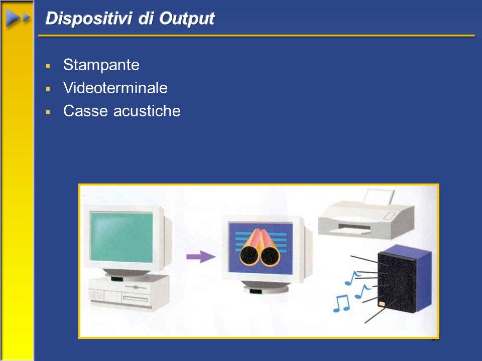 Dispositivi di Output Stampante Videoterminale Casse acustiche