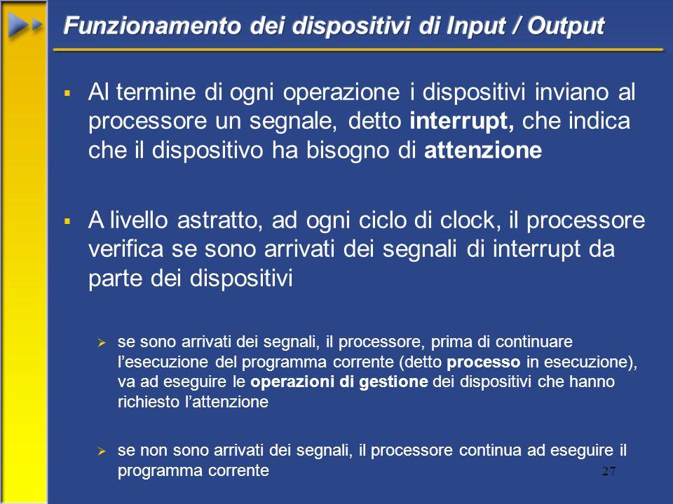 Funzionamento dei dispositivi di Input / Output