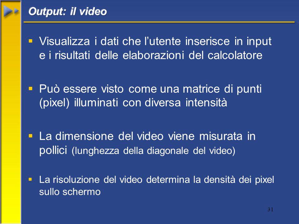 Output: il video Visualizza i dati che l'utente inserisce in input e i risultati delle elaborazioni del calcolatore.