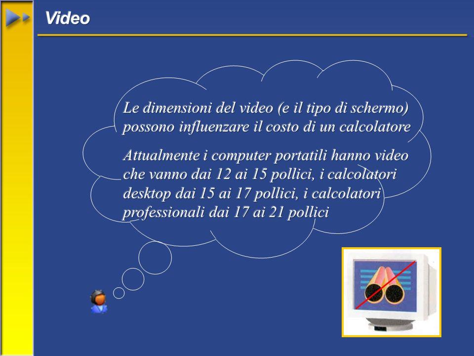 Video Le dimensioni del video (e il tipo di schermo) possono influenzare il costo di un calcolatore.