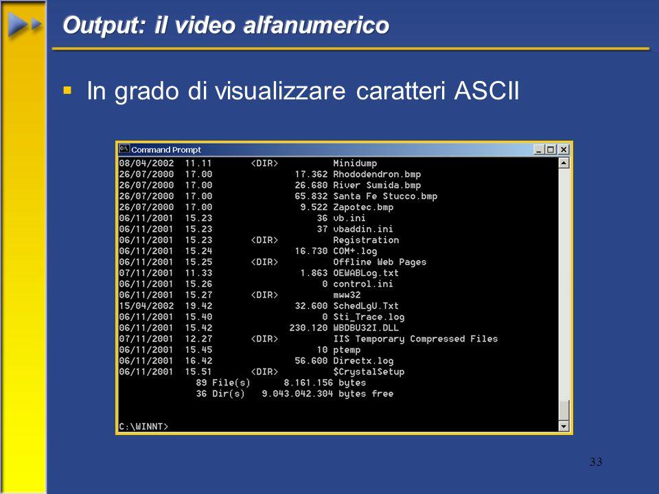 In grado di visualizzare caratteri ASCII
