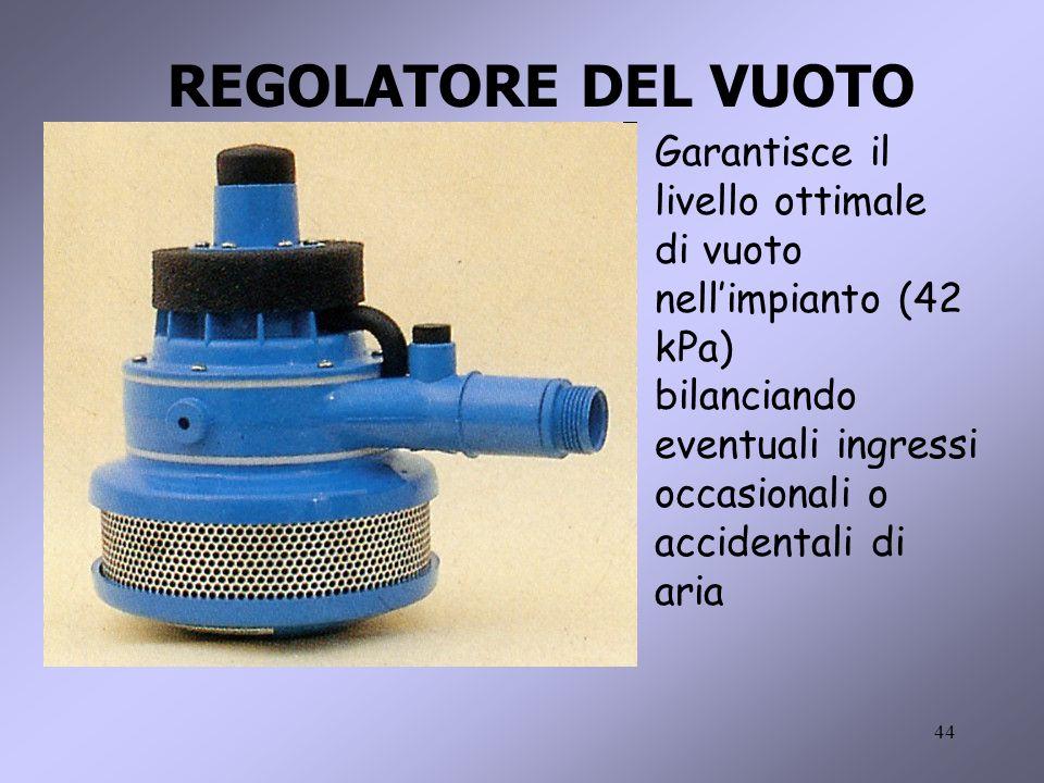 REGOLATORE DEL VUOTO Garantisce il livello ottimale di vuoto nell'impianto (42 kPa) bilanciando eventuali ingressi.