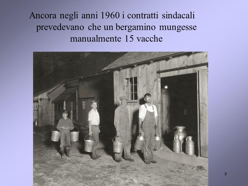 Ancora negli anni 1960 i contratti sindacali prevedevano che un bergamino mungesse manualmente 15 vacche