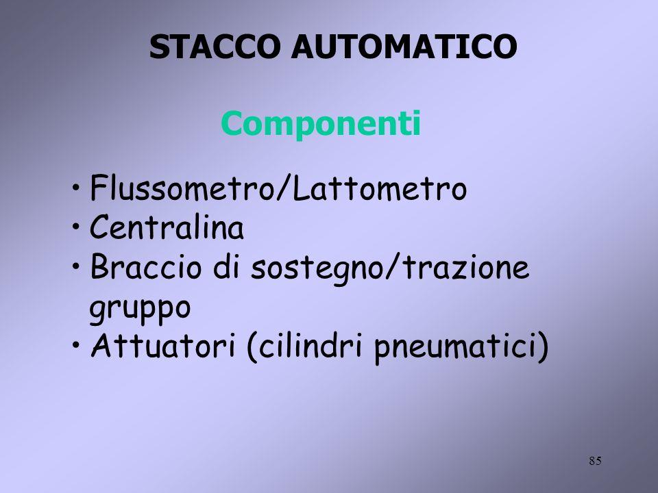 STACCO AUTOMATICO Componenti. Flussometro/Lattometro. Centralina. Braccio di sostegno/trazione gruppo.