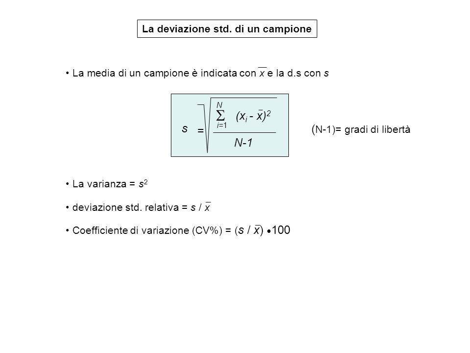  (xi - x)2 s = (N-1)= gradi di libertà N-1
