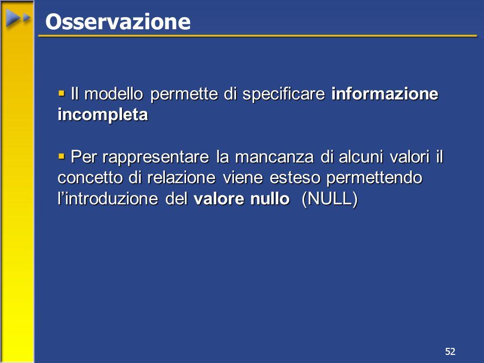 Osservazione Il modello permette di specificare informazione incompleta.