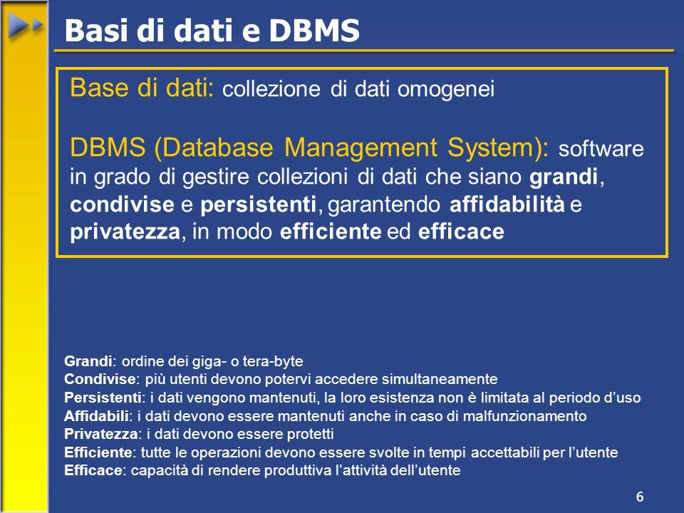 Basi di dati e DBMS Base di dati: collezione di dati omogenei