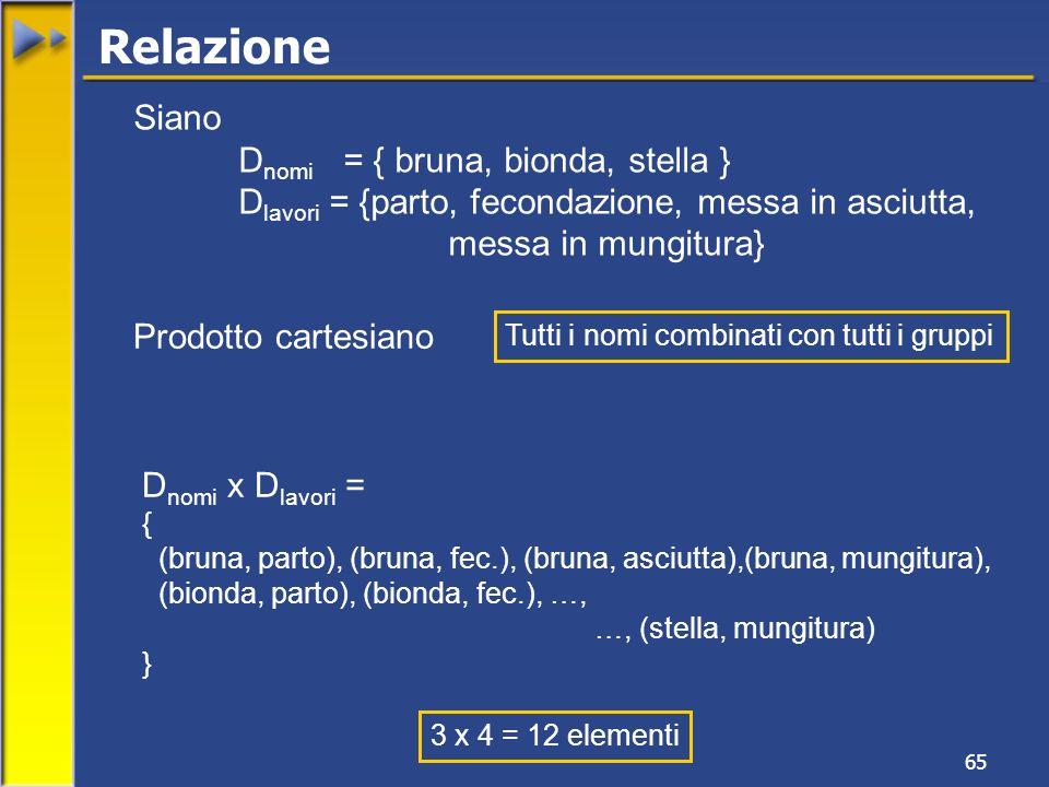 Relazione Siano Dnomi = { bruna, bionda, stella }