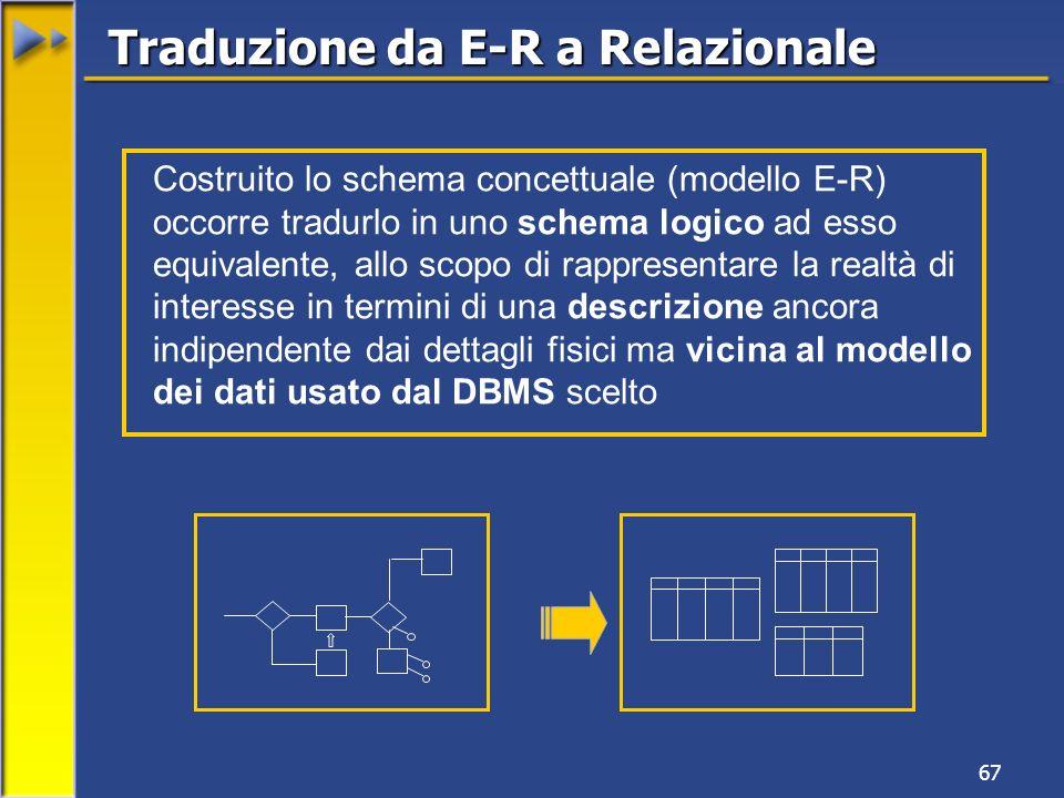 Traduzione da E-R a Relazionale