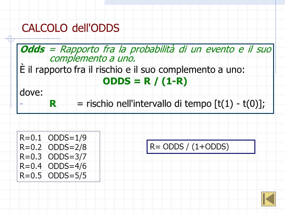 CALCOLO dell ODDSOdds = Rapporto fra la probabilità di un evento e il suo complemento a uno.
