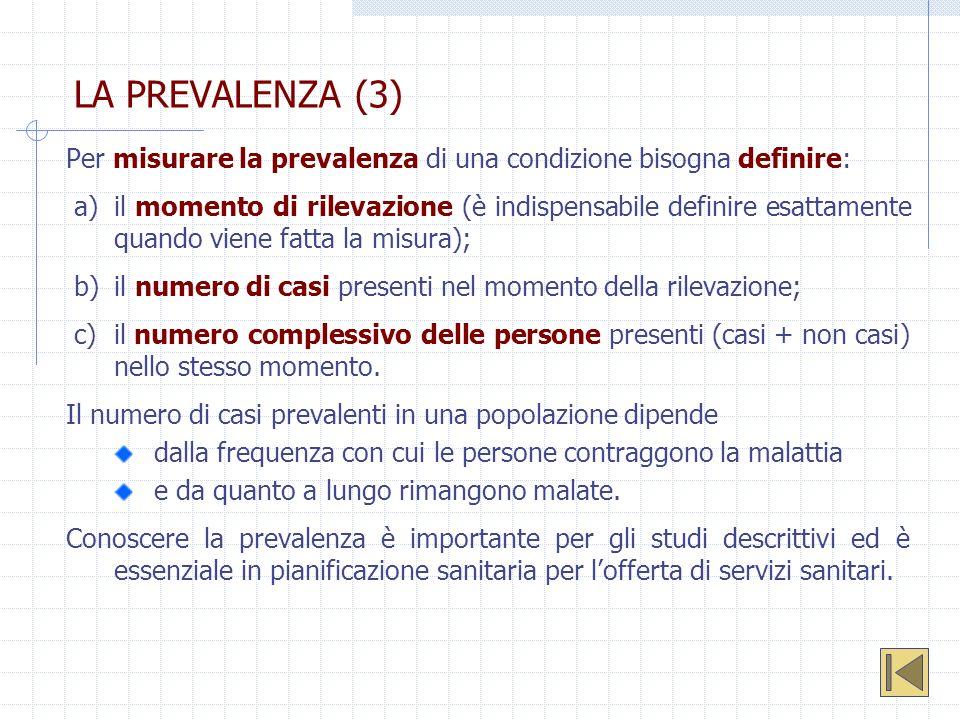 LA PREVALENZA (3) Per misurare la prevalenza di una condizione bisogna definire: