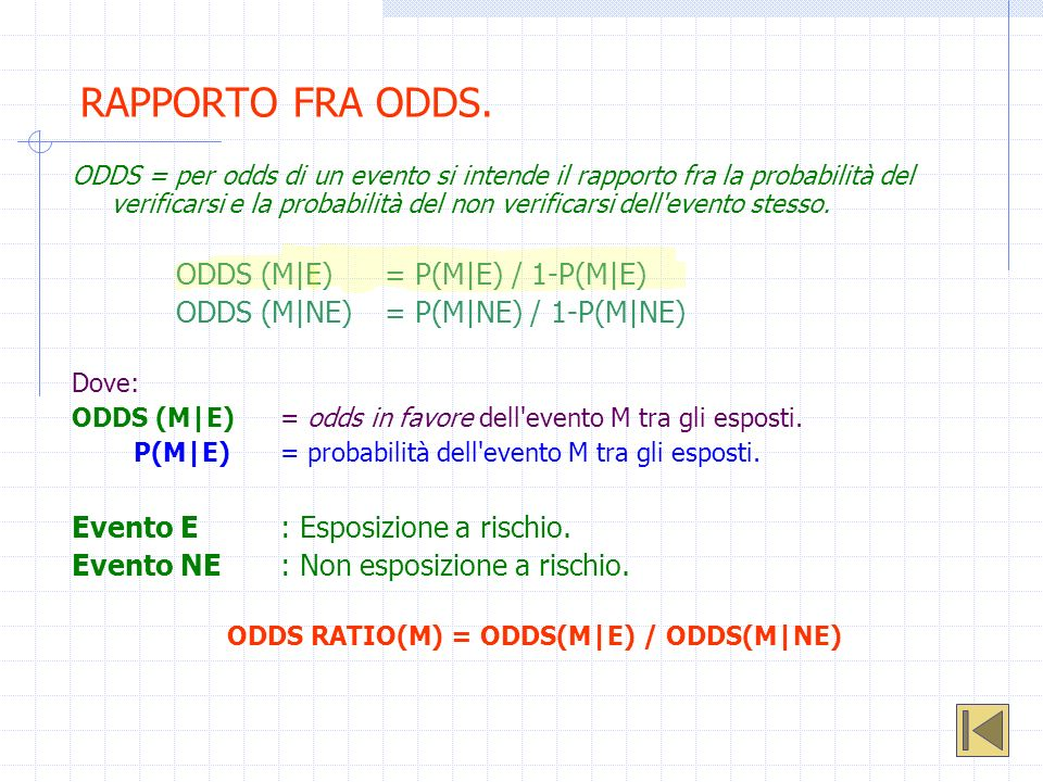 ODDS RATIO(M) = ODDS(M|E) / ODDS(M|NE)