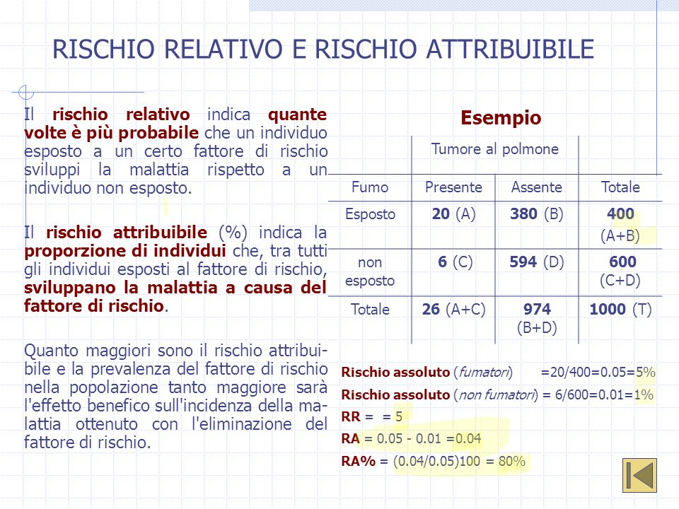 RISCHIO RELATIVO E RISCHIO ATTRIBUIBILE