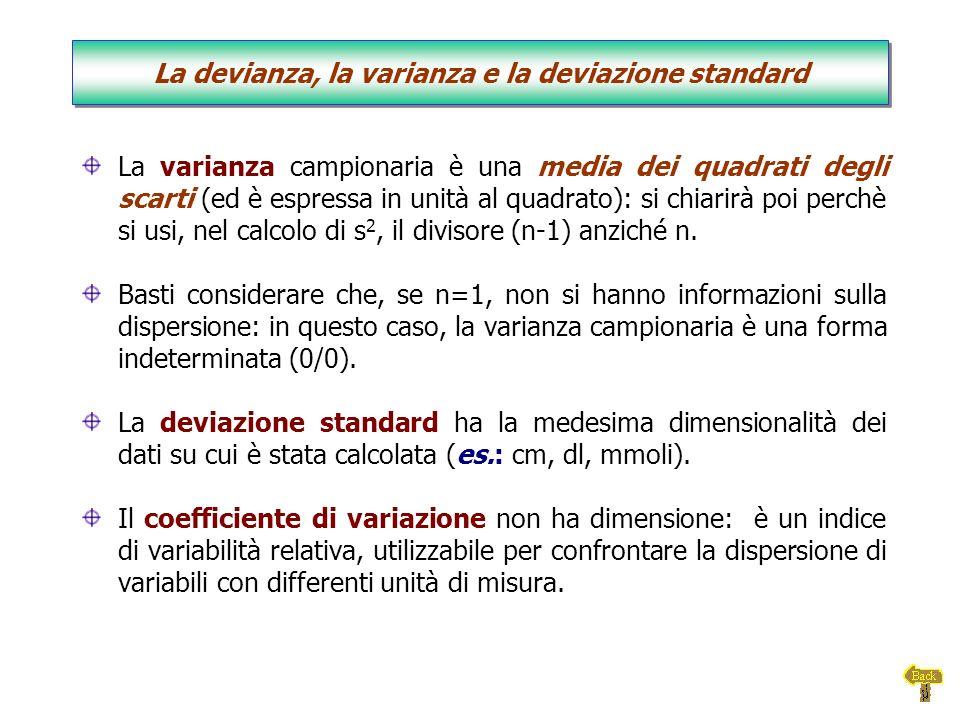 La devianza, la varianza e la deviazione standard