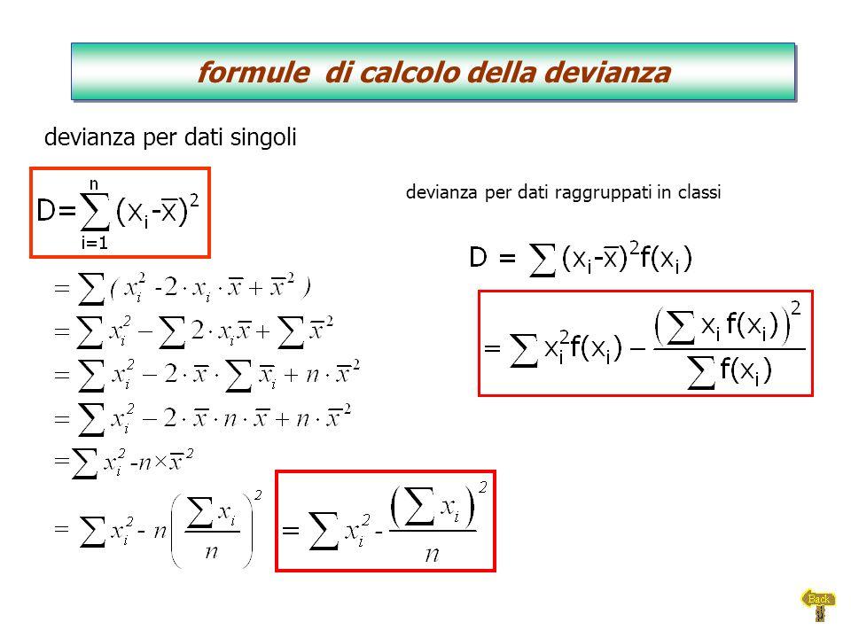 formule di calcolo della devianza